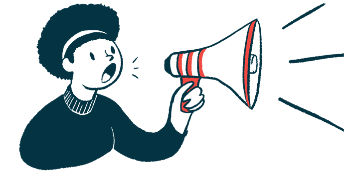 CMT 4 Me podcast launched/Charcot-Marie-Tooth News/woman with megaphone announcement illustrations Marie Tooth News