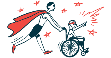 rare disease clinical trial participants | Charcot-Marie-Tooth News | Illustration of woman in cape pushing child in wheelchair