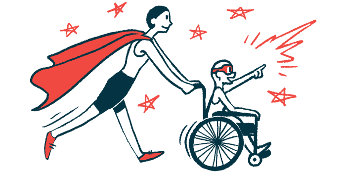 rare disease clinical trial participants   Charcot-Marie-Tooth News   Illustration of woman in cape pushing child in wheelchair